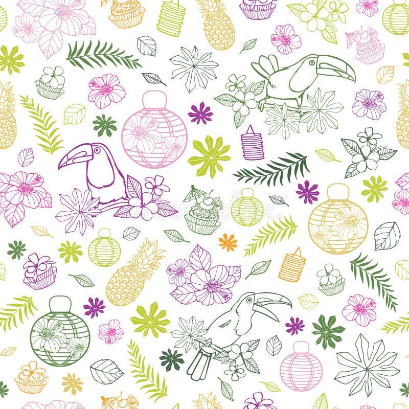 Wektorowy biały tło z colourful tropikalnych przyjęcie urodzinowe elementów bezszwowym deseniowym tłem z pieprzojadem i papierowy ilustracja wektor