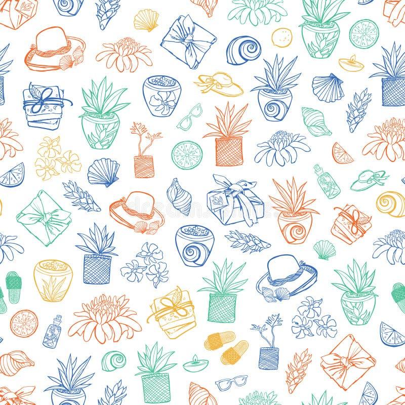 Wektorowy biały tropikalny miejscowość nadmorska zdroju powtórki wzór Stosowny dla opakunku, tkaniny i tapety prezenta, royalty ilustracja