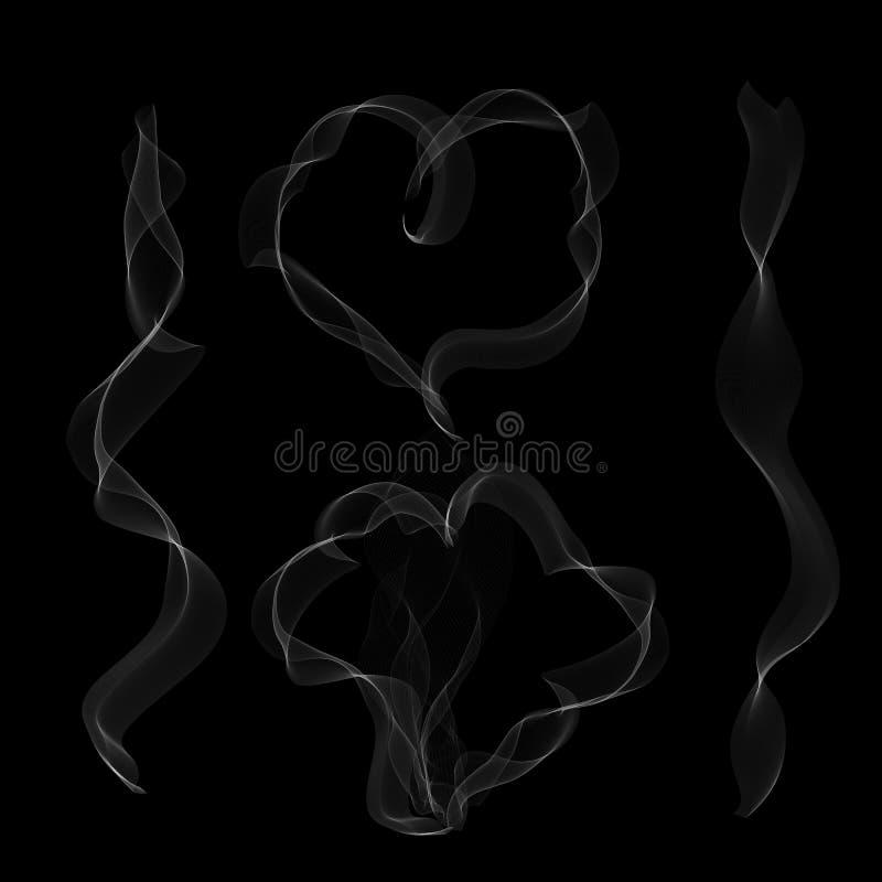 Wektorowy bielu dym w serce wzorze na czarnym tle ilustracja wektor