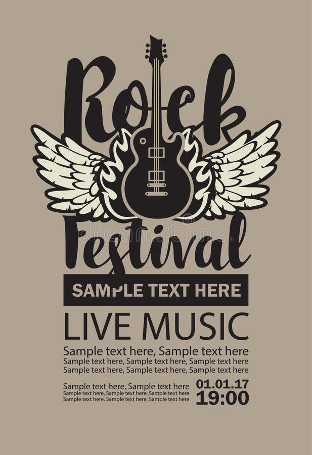 Wektorowy billboard dla Rockowego festiwalu muzyka na żywo royalty ilustracja