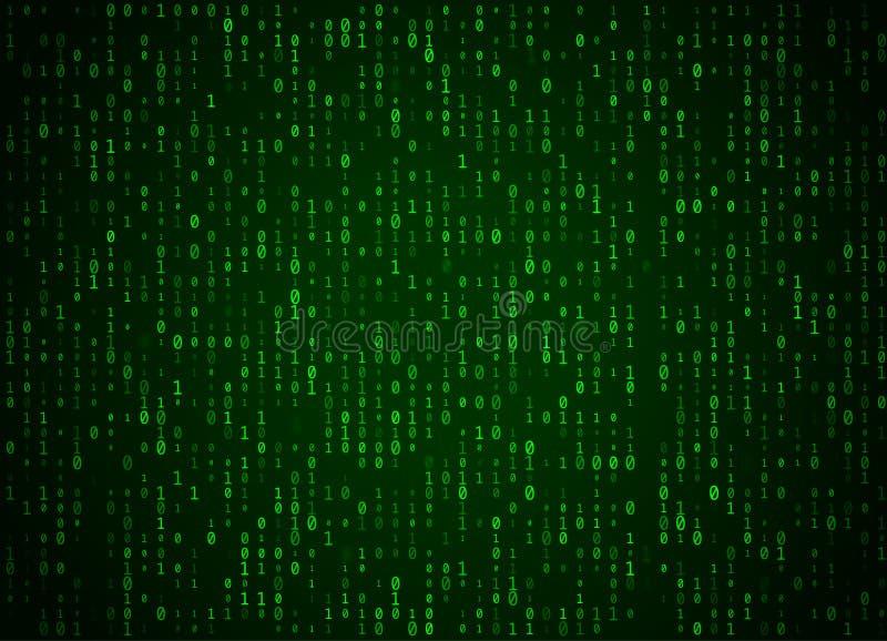 Wektorowy binarnego kodu zieleni tło Duży dane, programowania siekać i, komputer leje się liczby ilustracja wektor