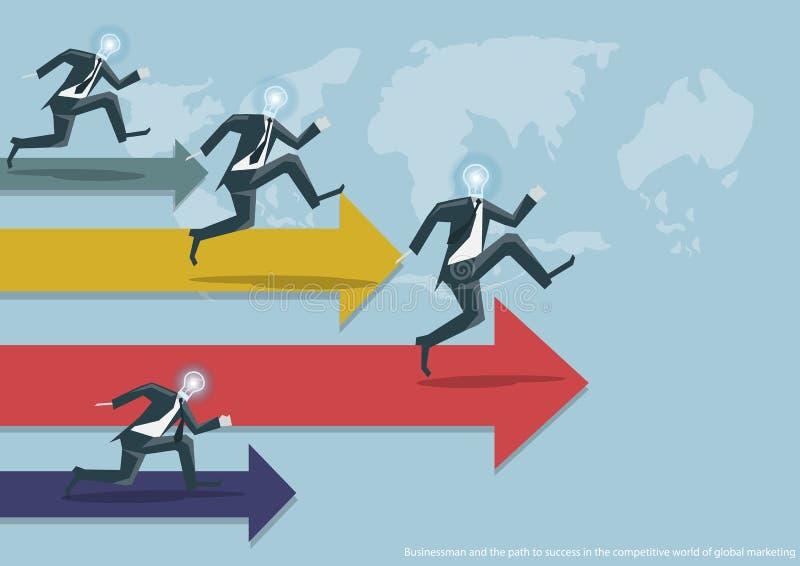 Wektorowy biznes i sukces globalny współzawodnictwo globalny płaski projekt royalty ilustracja