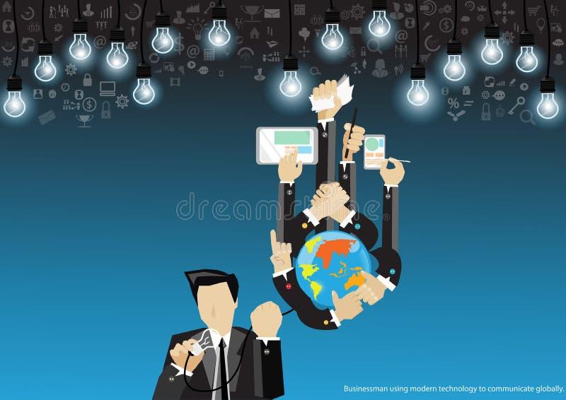 Wektorowy biznesmen na technologii dla sukcesu z wiszącą ozdobą, pastylką, notebookami i różnorodnych ikon płaskim projektem, ilustracji