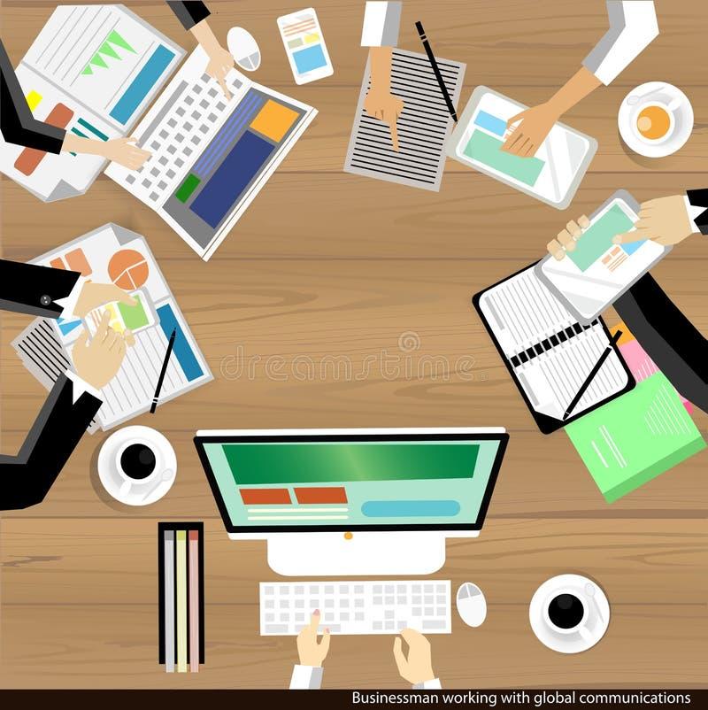 Wektorowy biznesmen pracuje i brainstroming z globalnych komunikacj drewnianym stołem ilustracja wektor