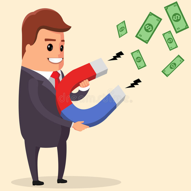 Wektorowy biznesmen używa magnes przyciąga pieniądze i szczęście ilustracja wektor