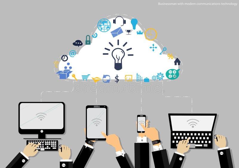 Wektorowy biznesmen z nowożytną technologii komunikacyjnej i biznesu ikony pastylką tworzy Używać dla praca płaskiego projekta ilustracja wektor