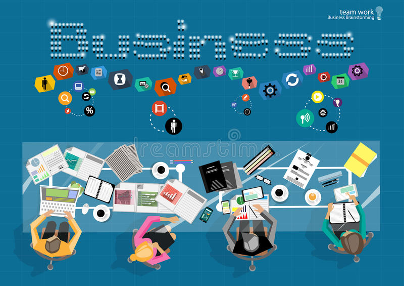 Wektorowy biznesmena brainstorming Płaskiego projekta nowożytny wektorowy ilustracyjny pojęcie zarządzanie projektem biznesowa an ilustracja wektor