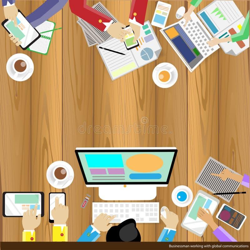 Wektorowy biznesmena brainstorming, spotkanie na drewnianym stole i ilustracji