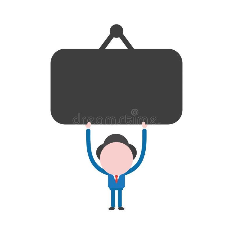 Wektorowy biznesmena charakter trzyma up pustego obwieszenie znaka ilustracji