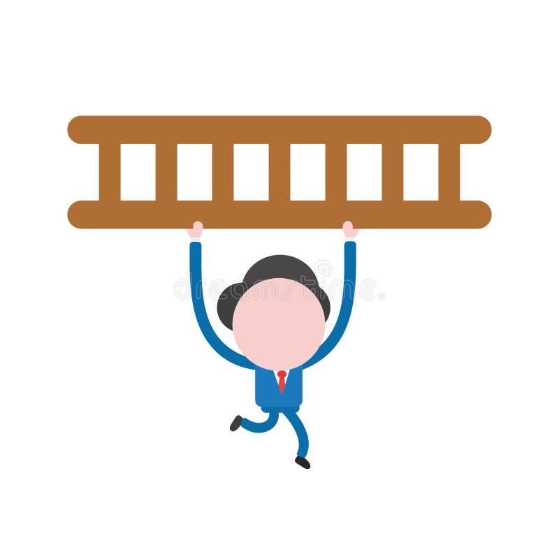 Wektorowy biznesmena charakteru bieg i przewożenie drewniana drabina ilustracja wektor