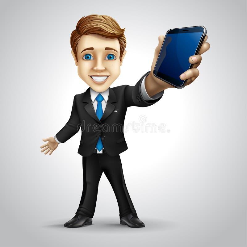 Wektorowy biznesmena postać z kreskówki trzyma royalty ilustracja
