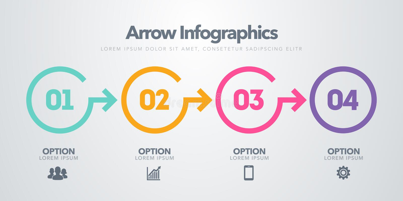 Wektorowy biznesowy infographic element Linia czasu z 4 okręgami, kroki, numerowe opcje royalty ilustracja