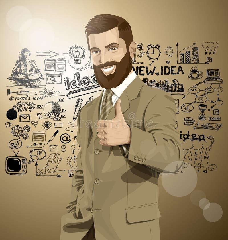 Wektorowy Biznesowy mężczyzna Z brod przedstawieniami Well Robi royalty ilustracja
