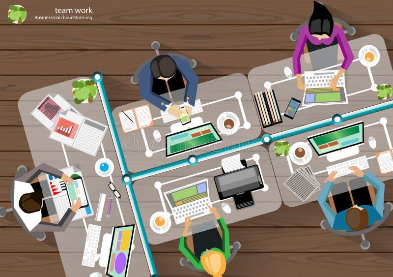 Wektorowy Biznesowy miejsce pracy wierzchołka kąta brainstorming ilustracja wektor