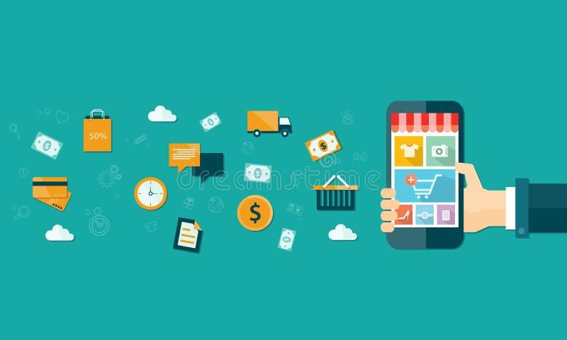 wektorowy biznesowy mobilny online zakupy na urządzeniu przenośnym ilustracji