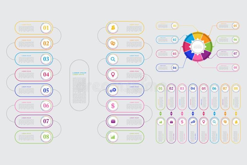 Wektorowy biznesowy szablon dla prezentaci Nowożytny dane unaocznienie Abstrakcjonistyczni elementy wykres, diagram z krokami, 8  royalty ilustracja