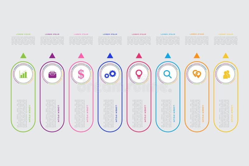 Wektorowy biznesowy szablon dla prezentaci Nowożytny dane unaocznienie Abstrakcjonistyczni elementy wykres, diagram z krokami, 8  ilustracja wektor