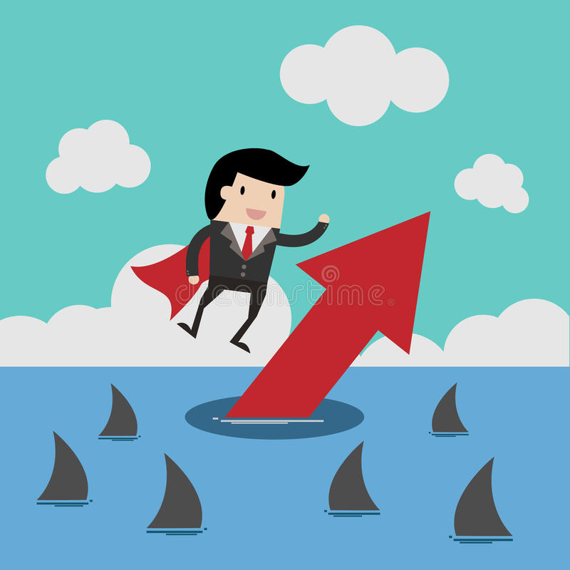 Wektorowy biznesu finanse Pomyślny biznesmena pojęcie, kreskówki ilustracja dla biznesowego projekta ilustracji