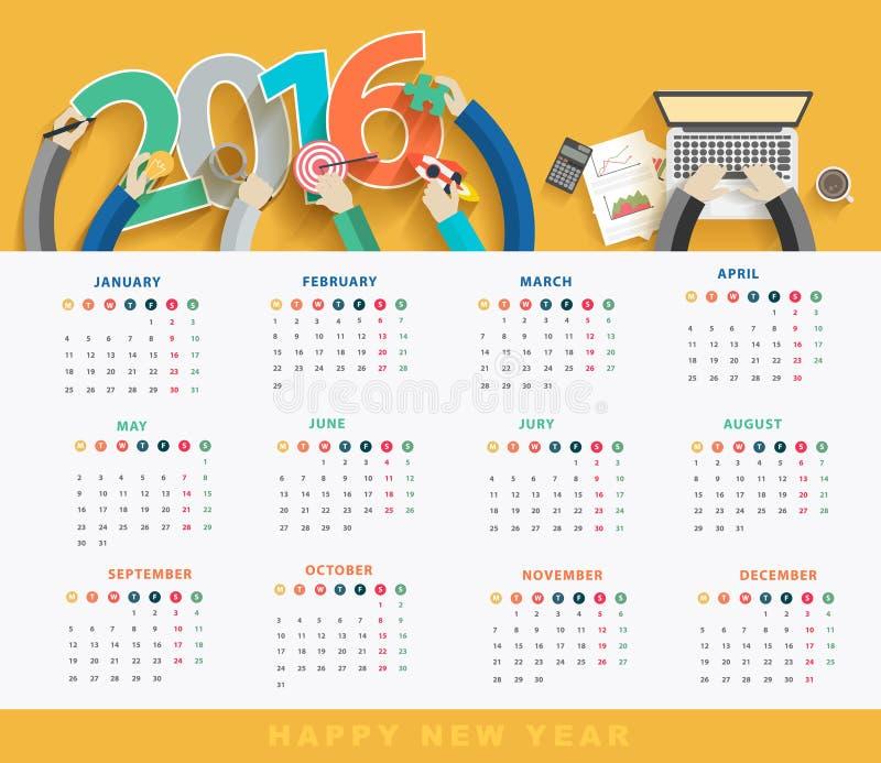 Wektorowy biznesu kalendarz 2016 royalty ilustracja