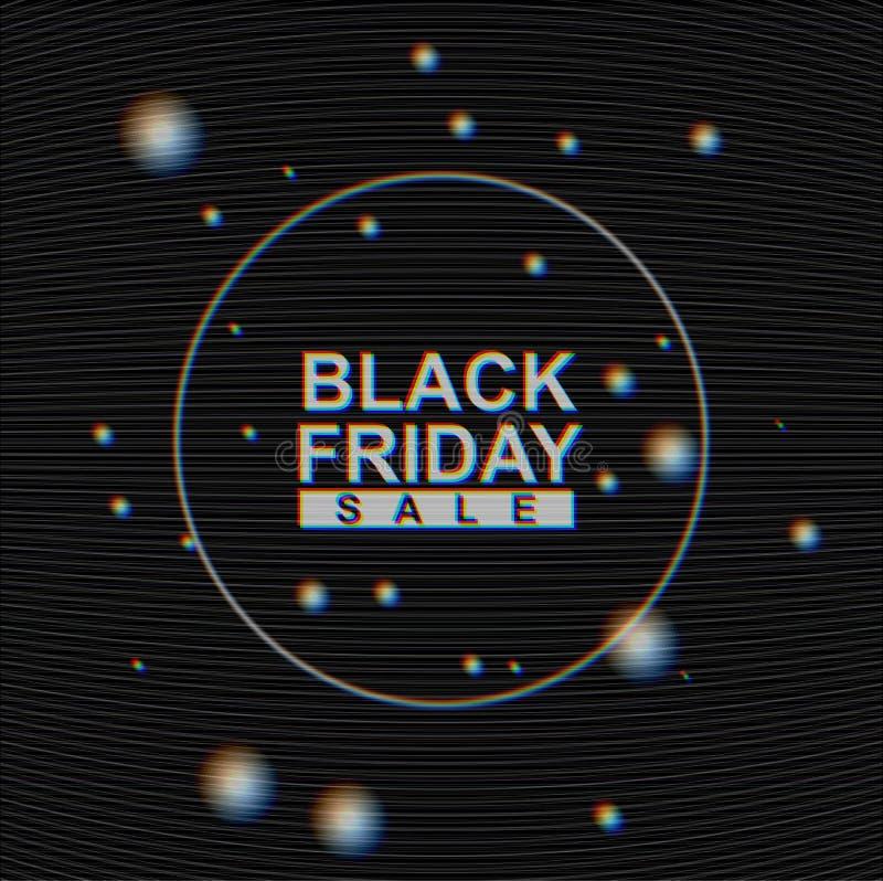 Wektorowy Black Friday sprzedaży sztandar na Analogowym TV usterki mory tle Żadny sygnałowy hałas, ciemna abstrakcjonistyczna tek ilustracja wektor