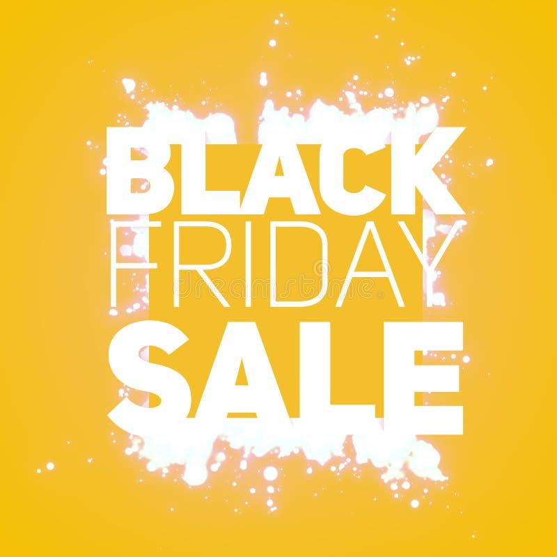 Wektorowy Black Friday sprzedaży tło z jaśnienie wybuchem biel błyska Wektorowa ilustracja na pomarańczowym tle ilustracji