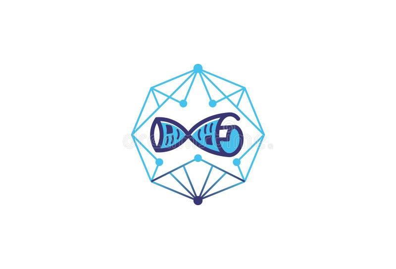 Wektorowy Blokowego łańcuchu logo ilustracji