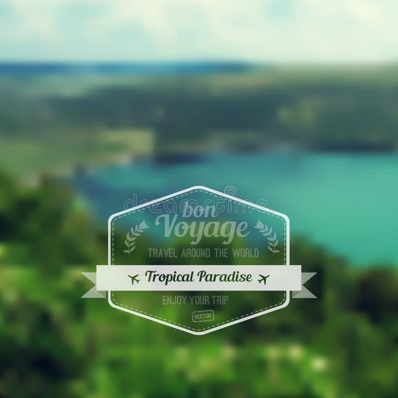 Wektorowy blure krajobraz z modniś odznaką Jeziorny widok ilustracja wektor