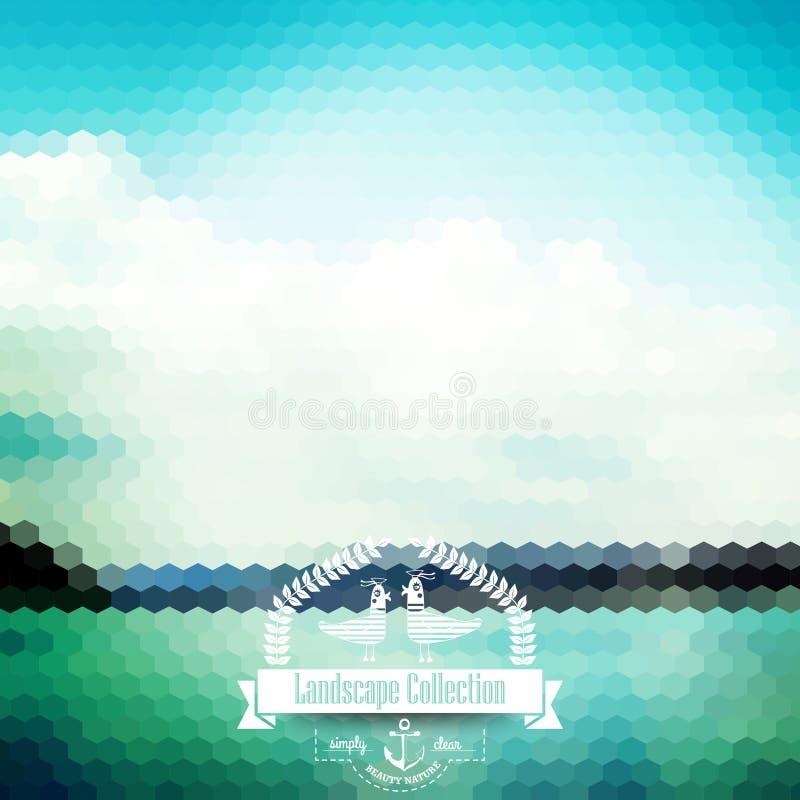 Wektorowy blure krajobraz z modniś odznaką Piękny jeziorny widok royalty ilustracja