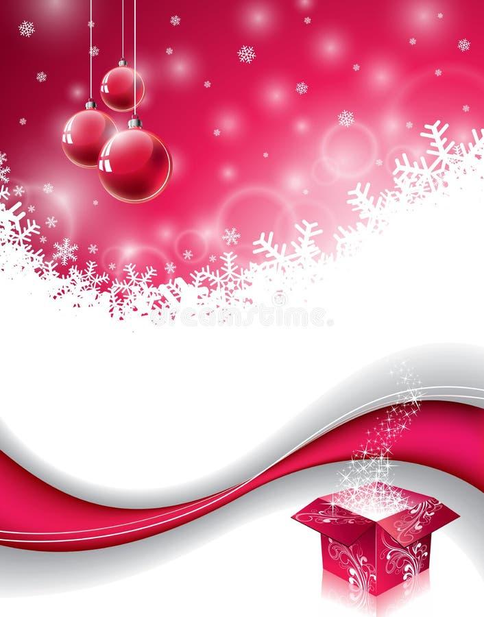 Wektorowy boże narodzenie projekt z magicznym prezenta pudełkiem i czerwoną szklaną piłką na płatka śniegu tle ilustracji