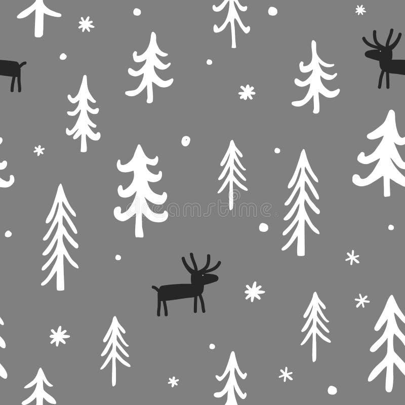 Wektorowy Bożenarodzeniowy bezszwowy wzór z ślicznymi kreskówka rogaczami, drzewami i płatek śniegu, Biała, czarna i popielata pa ilustracja wektor