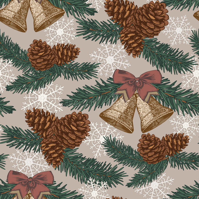 Wektorowy Bożenarodzeniowy bezszwowy wzór z jedlinowym drzewem, jedlinowi rożki, dzwony w roczniku projektuje ilustracji
