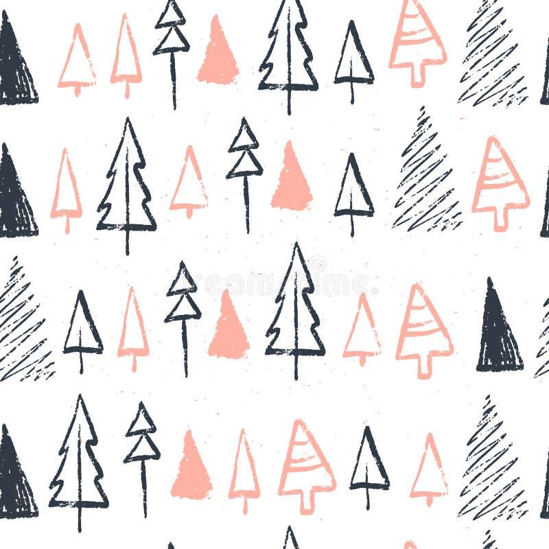 Wektorowy Bożenarodzeniowy bezszwowy wzór z ręka rysującymi xmas jedlinowych drzew różnymi kształtami i płatki śniegu kreślimy el royalty ilustracja