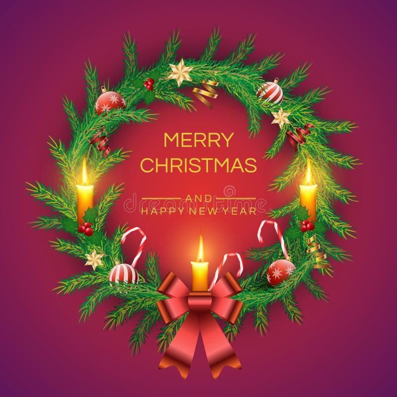 Wektorowy Bożenarodzeniowy Jedlinowy wianek z świeczkami, złotym dzwonem, czerwonymi jagodami, cukierek trzcinami, łękiem i piłka ilustracja wektor