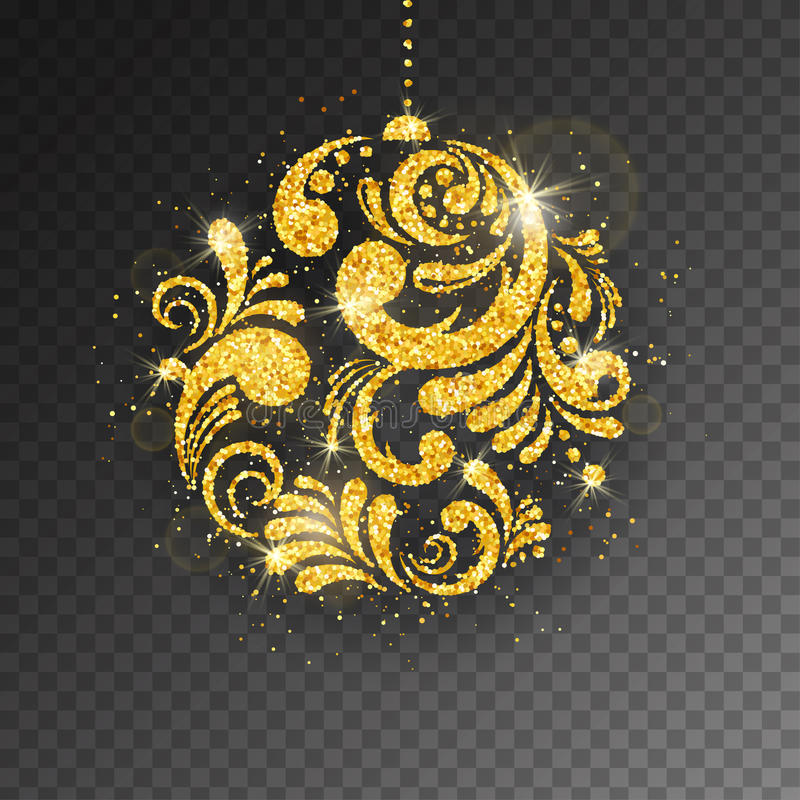 Wektorowy Bożenarodzeniowy nowego roku kartka z pozdrowieniami z lśnienie błyskotliwości złotą textured Bożenarodzeniową piłką ilustracja wektor