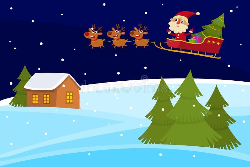 Wektorowy Bożenarodzeniowy sztandar śliczni kreskówka krajobrazy z Święty Mikołaj ilustracji