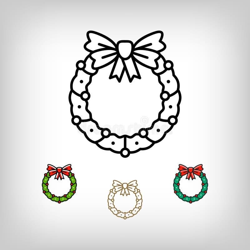 Wektorowy Bożenarodzeniowy wianek odizolowywająca ikona, dekoracja symbol, kreskowej sztuki styl royalty ilustracja