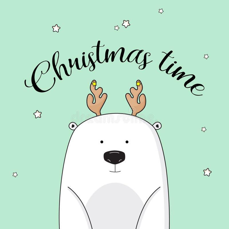 Wektorowy Bożenarodzeniowy zaproszenie z niedźwiedziem polarnym na nowy rok wigilii Śliczni dzieciak zimy wakacje ilustracyjni Xm ilustracja wektor