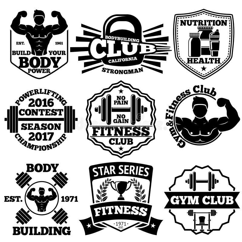 Wektorowy Bodybuilding ustawiający odznaki, etykietki z, barbell, dumbbell, bobek, czara, - silnym mężczyzna, etc royalty ilustracja
