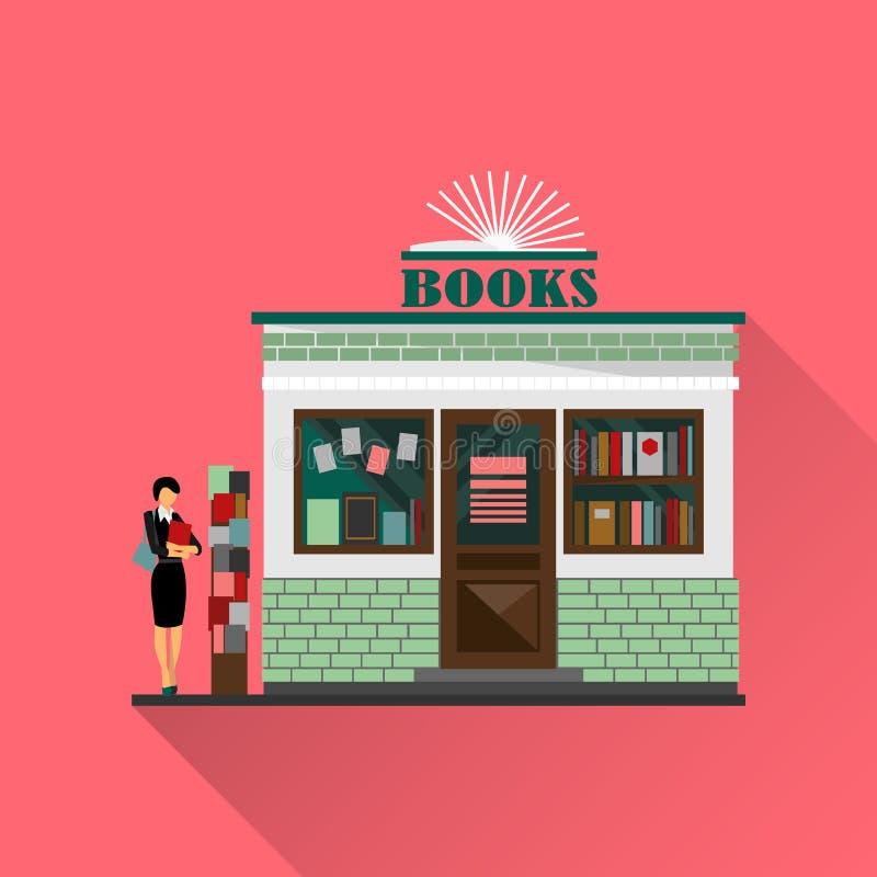 Wektorowy bookstore centrum handlowe Książka sklepowy budynek ilustracji