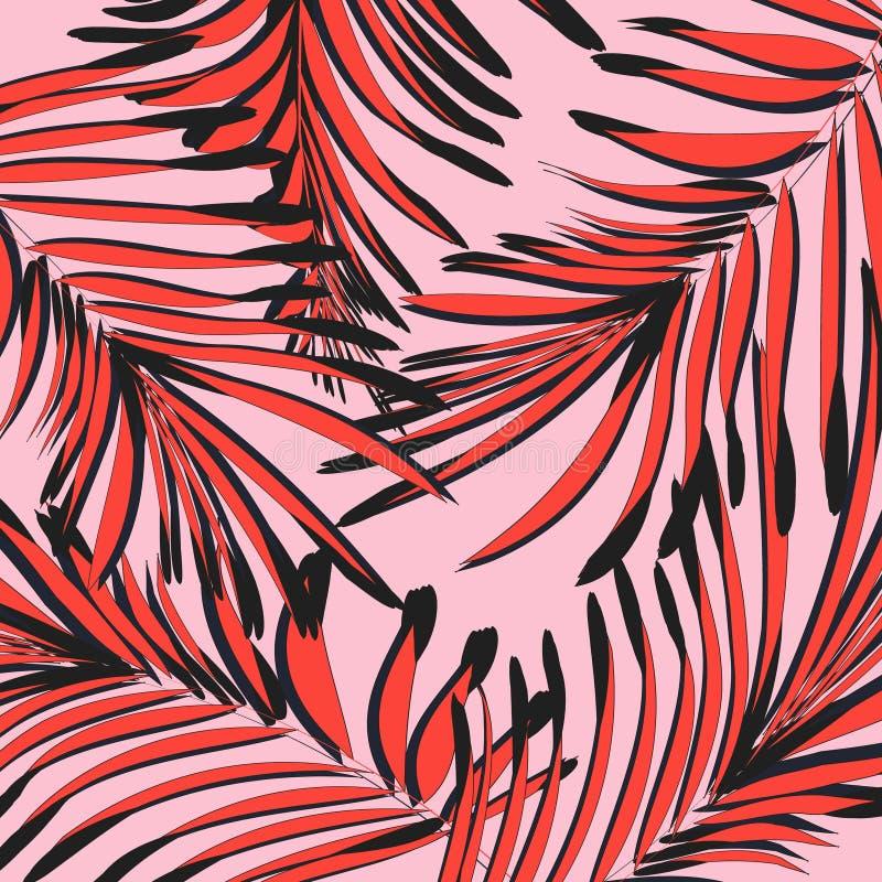 Wektorowy botaniczny lato wzór w różowych czerwonych kolorach Liść tekstura z tropikalną dekoracją Ulistnienie exootic grafika ilustracja wektor