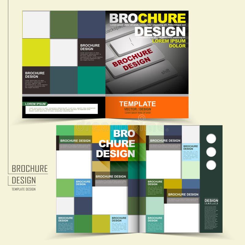 Wektorowy broszurka projekt z klawiaturą i kwadratami royalty ilustracja