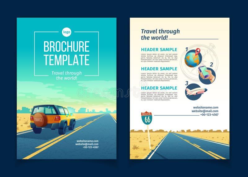 Wektorowy broszurka szablon z turystycznym pojęciem, podróżuje royalty ilustracja
