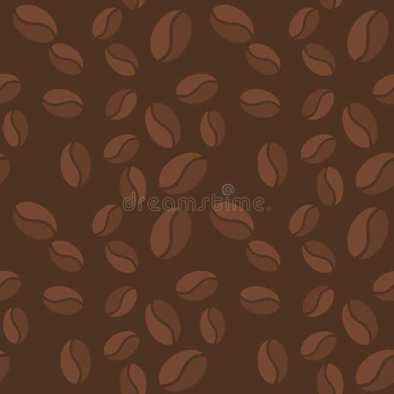 Wektorowy brown bezszwowy wzór z kawowych fasoli ikonami royalty ilustracja