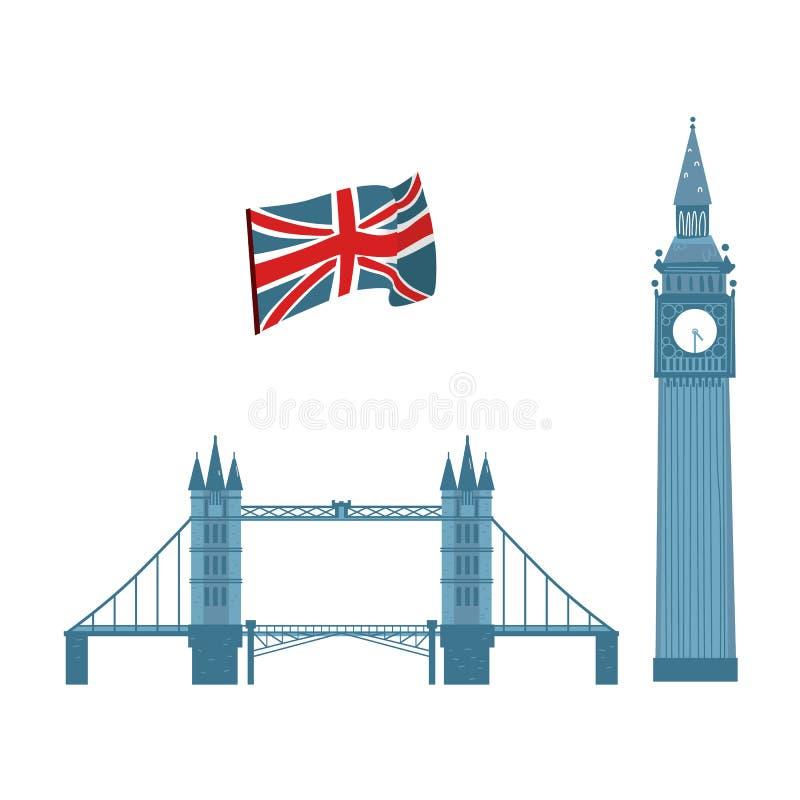 Wektorowy brytyjski symbol ikony set ilustracji