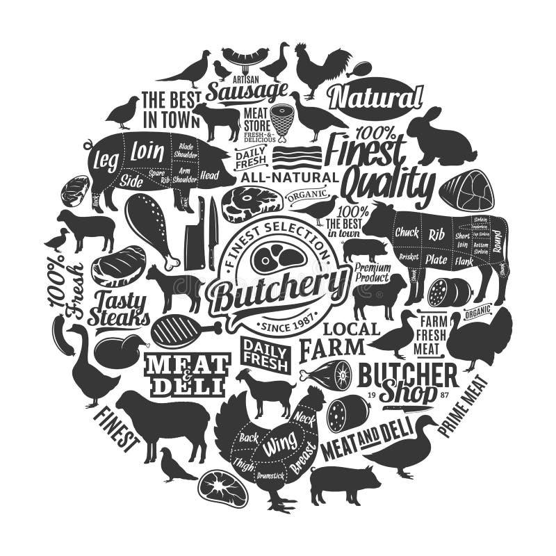 Wektorowy butchery logo, ikony i projektów elementy, ilustracja wektor