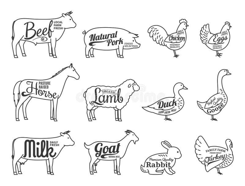 Wektorowy Butchery logo Zwierzęta Gospodarskie ikon Cienka Kreskowa kolekcja Jest royalty ilustracja