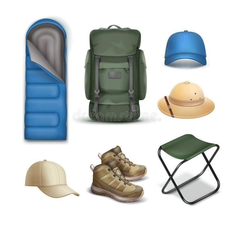 Wektorowy campingu materiał ilustracja wektor