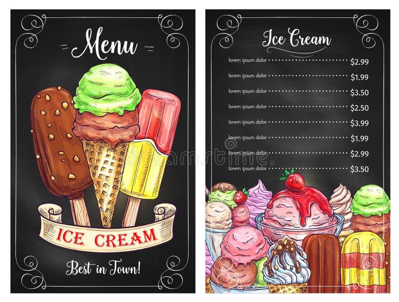 Wektorowy cena menu dla lodów deserów cukiernianych royalty ilustracja
