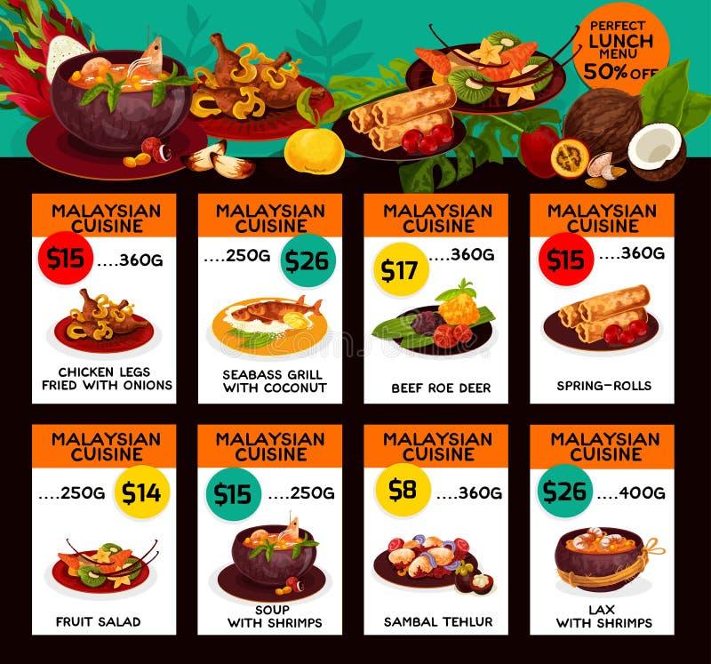Wektorowy cena menu dla Malezyjskiego kuchnia lunchu ilustracji