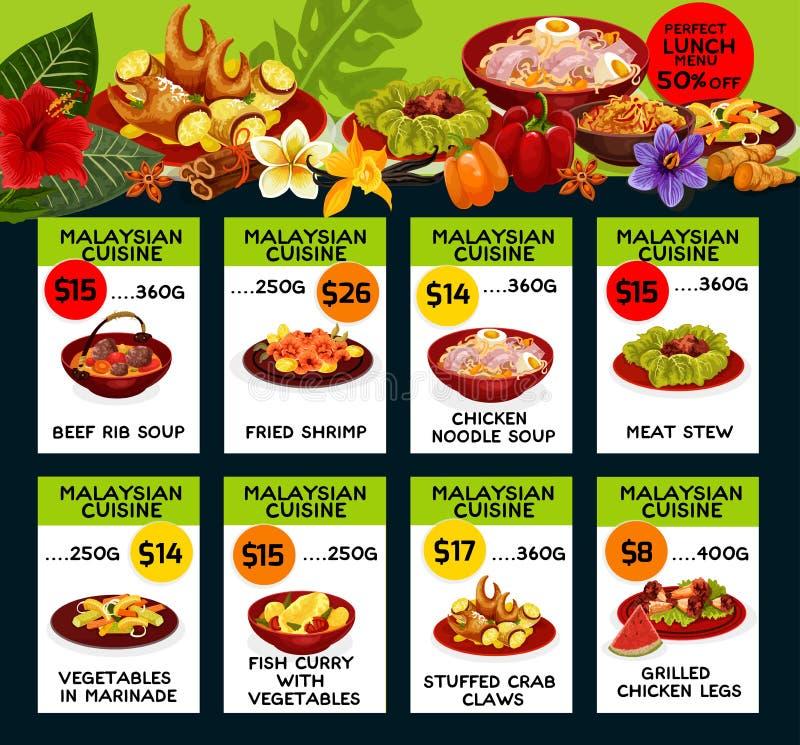 Wektorowy cena menu dla Malezyjskiej kuchni ilustracji